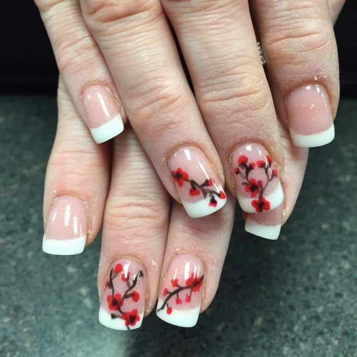 10 charming cherry blossom nail art naildesigncode dont worry if you have french nails you can have cherry nail art on them with great efficacy if you want first draw a jagged line on the nude nail as prinsesfo Gallery