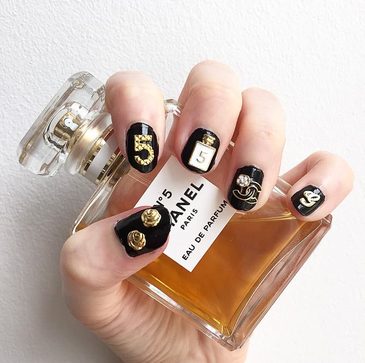 7 chanel nail designs to flaunt love for brands naildesigncode chanel no 5 nail design prinsesfo Image collections