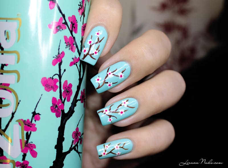 10 charming cherry blossom nail art naildesigncode simple cherry blossom nail design prinsesfo Gallery