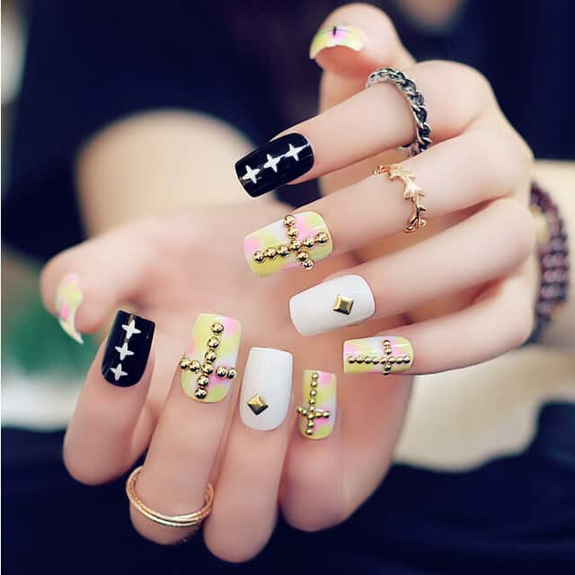 Cross Design with Stud on Acrylic nail