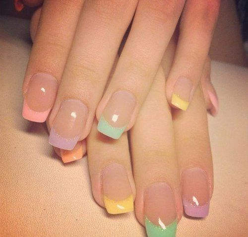 colouful Square Tip Acrylic Nail