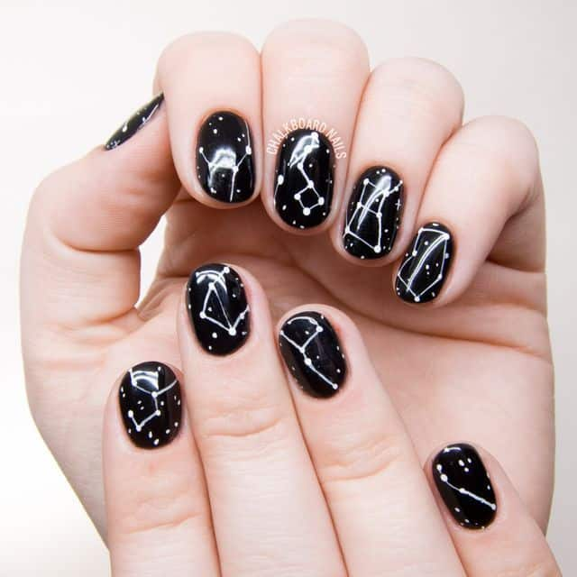 Zodiac Sign on Round Acrylic Nail