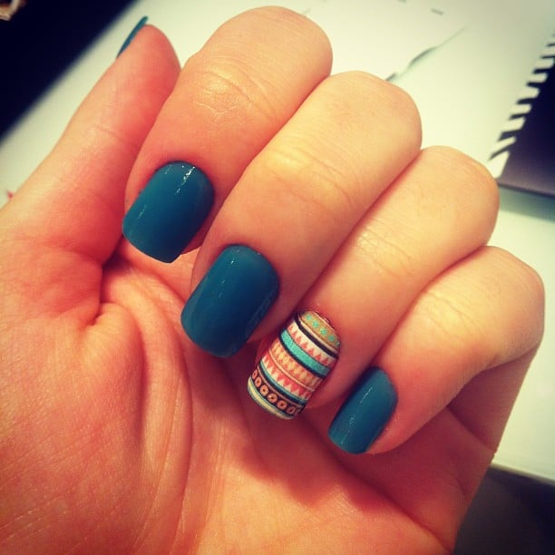 tribal accent nail design