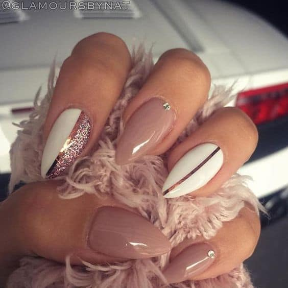 nude stiletto nail designs