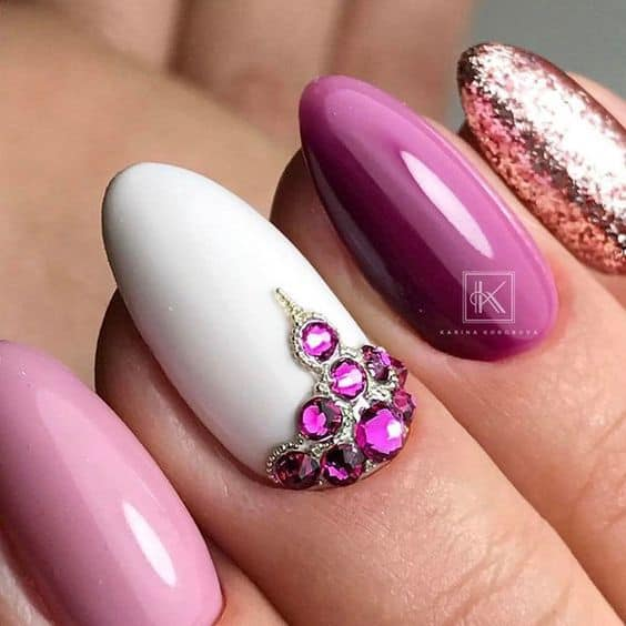 Purple Almond Nail Designs