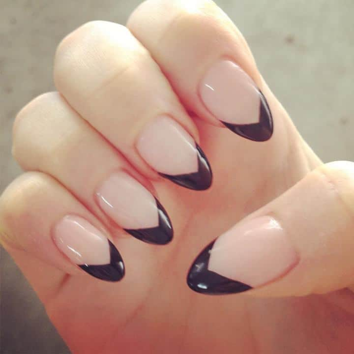 15 Eye-Catching Black Tip Nails That Are Simply Elegant