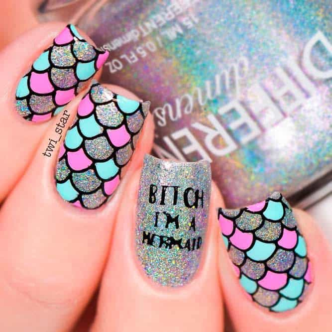 mermaid long square nail art