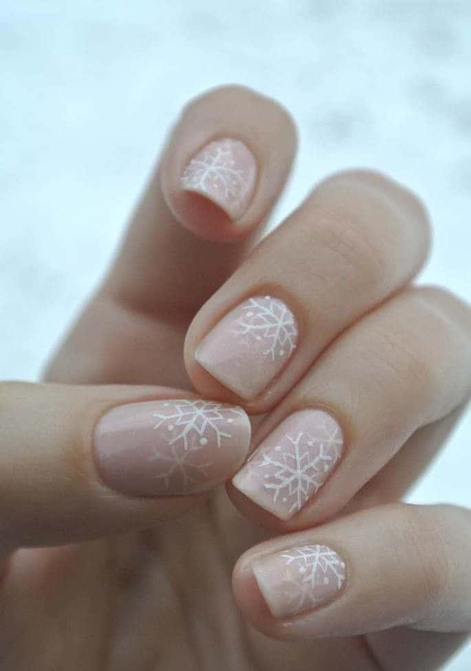 Nude Snowflake Nail