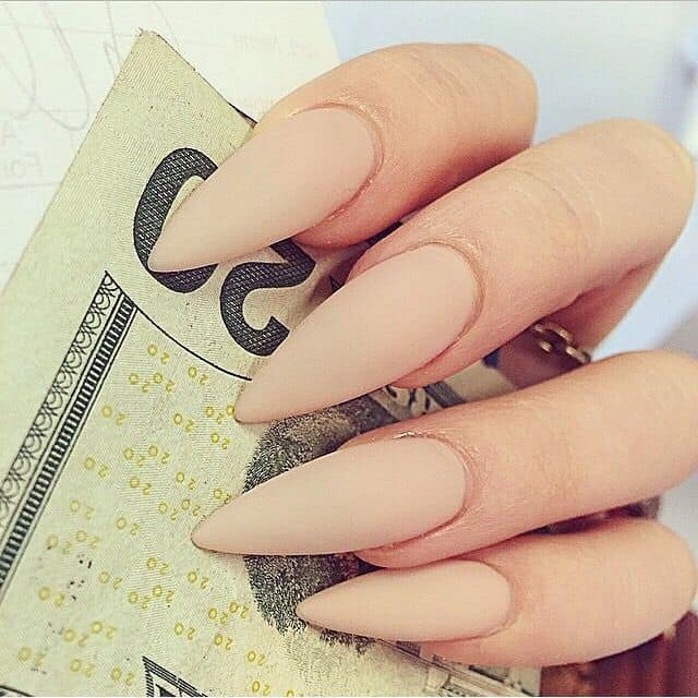 nude color stiletto nails