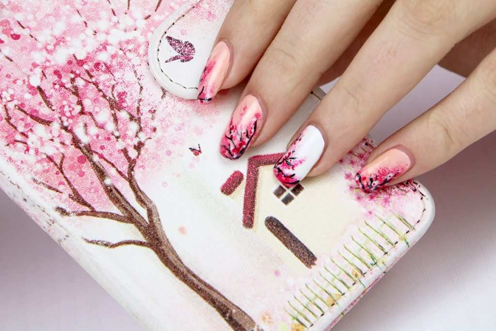 Pink Pigmented Cherry Blossom Nail - 10 Charming Cherry Blossom Nail Art – NailDesignCode