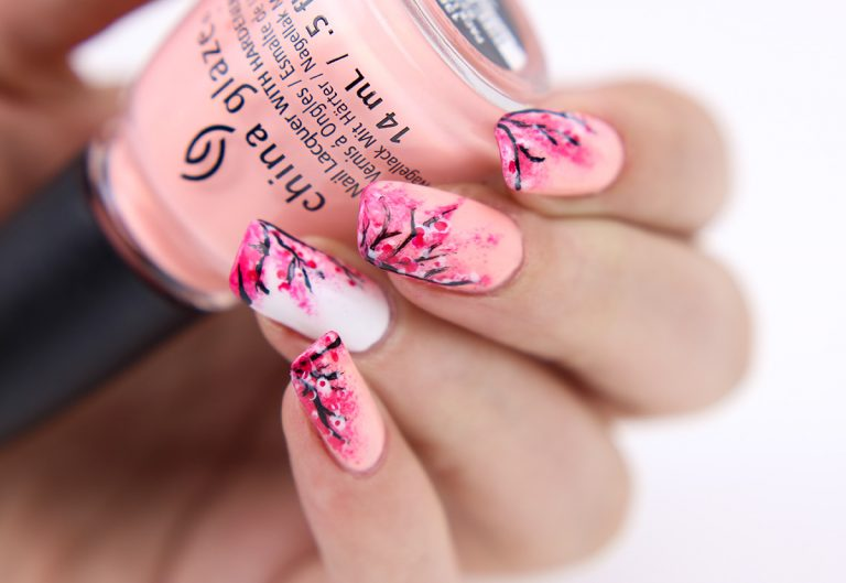 20 Charming Cherry Blossom Nail Art