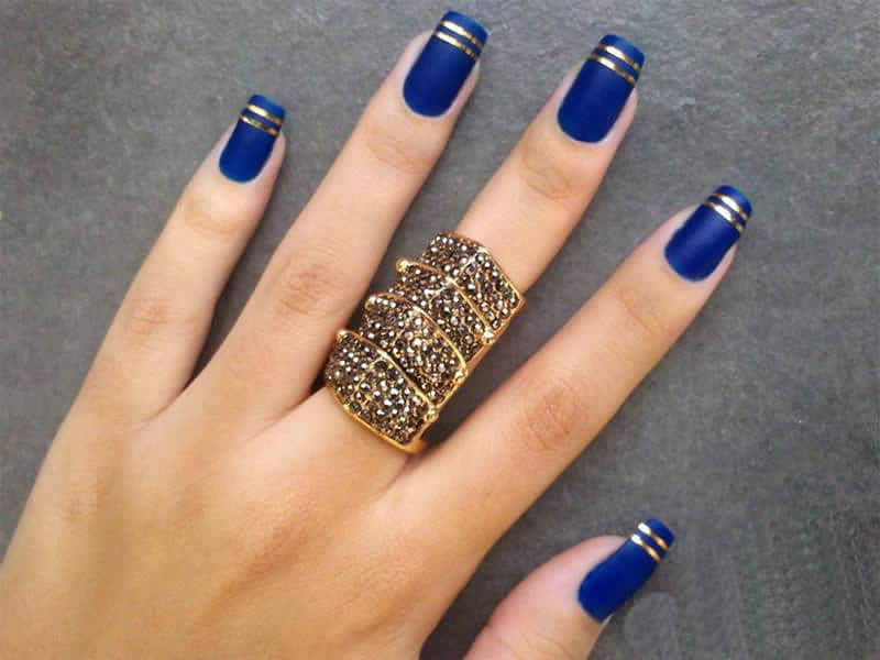 Blue Matte long Square Nail