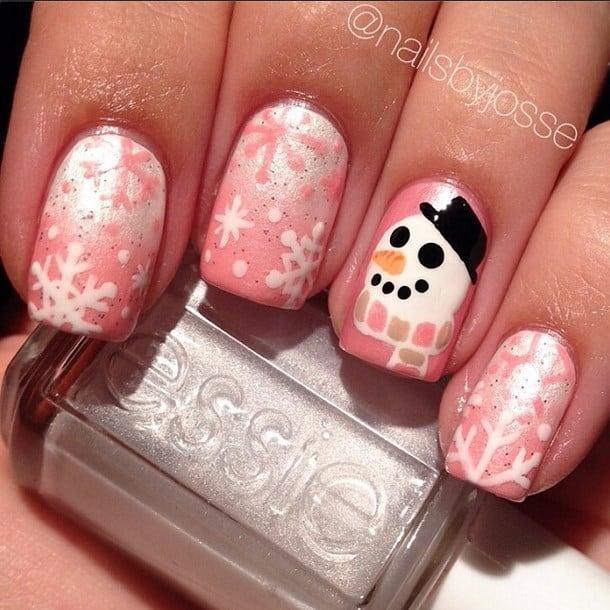 Peachy Snowflake Nail Art