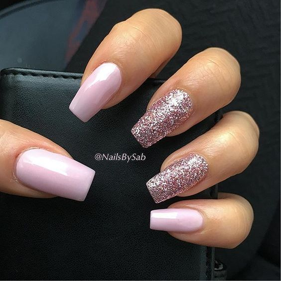 Your Square Nail Will Look Absolutely Glamorous In This Design Use Any Light Acrylic For All The Nails Then Golden Or Silvery Glitters On Two Three
