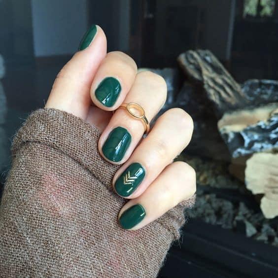 Green Acrylic Round Nail