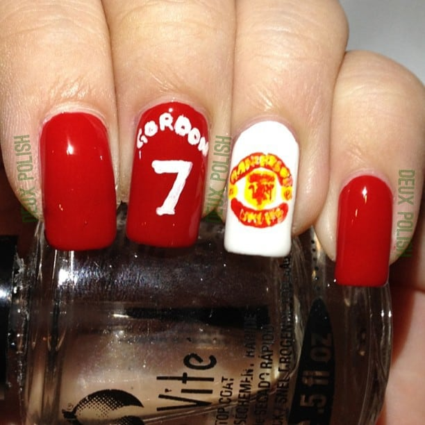 red devil football nail art