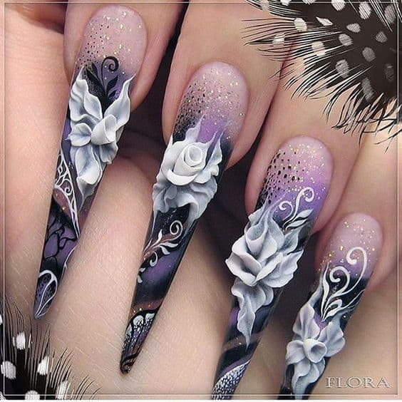 3D floral design stiletto nails