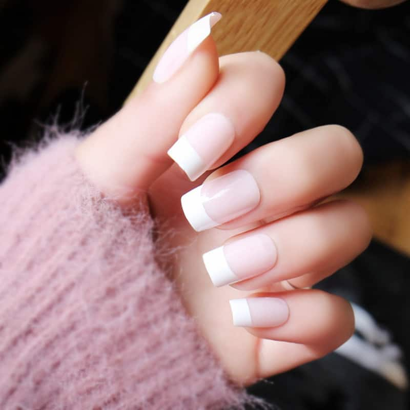 French Square Acrylic Nail Design