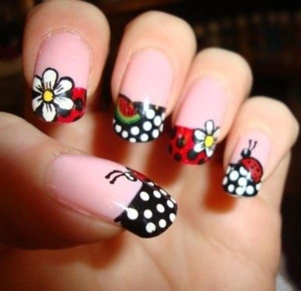 Black & White Ladybug Nail Designs - Ladybug Nail Designs: 15 Ideas To Carry Good Luck – NailDesignCode