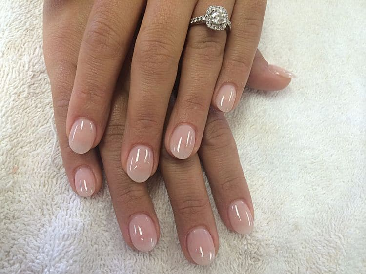 Beige Short Round Nails