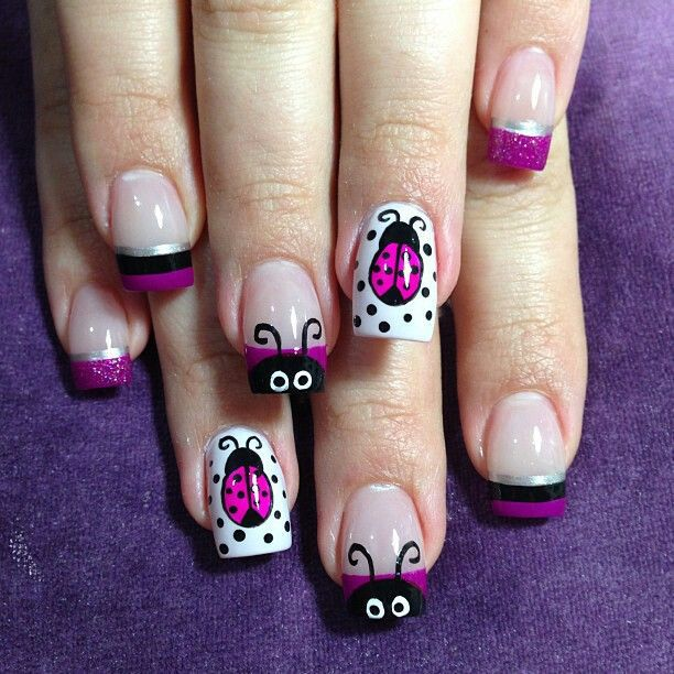 Draw purple ladybugs on white base of your nails. And draw only the eyes  and the antennas of ladybugs on the upper edges of your nude nails. - Ladybug Nail Designs: 15 Ideas To Carry Good Luck – NailDesignCode