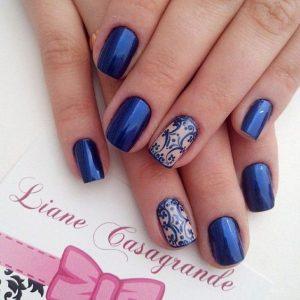Royal Blue Square acrylic nails