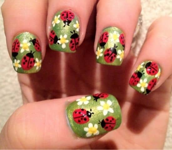 This design is especially for a lady group consisting of three ladies. If  every member of the trio has this same design, that will make a lot of  people ... - Ladybug Nail Designs: 15 Ideas To Carry Good Luck – NailDesignCode