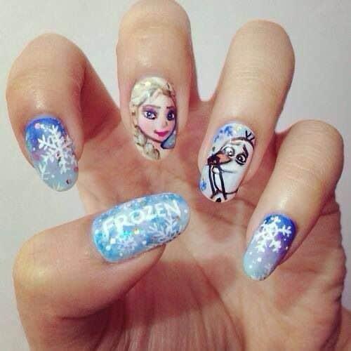 Elsa & Olaf Frozen Nail Design