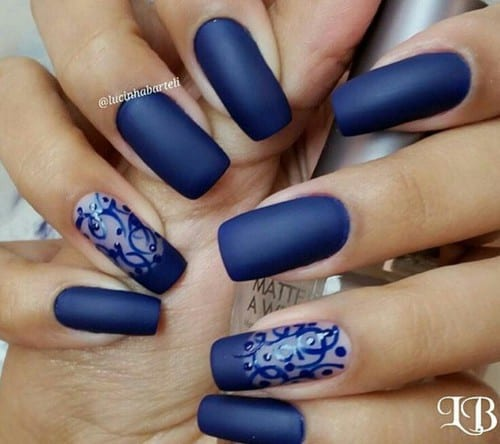 Navy Blue Accent Nail