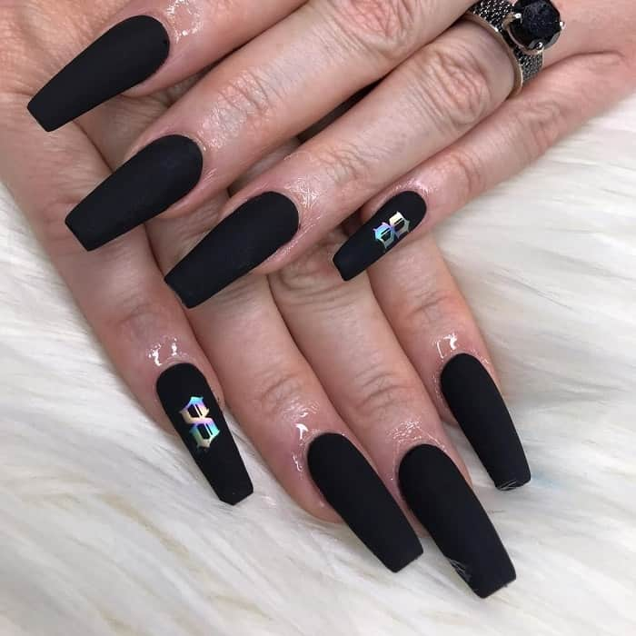 long black square nails