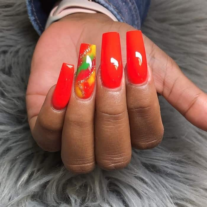 long red square nails