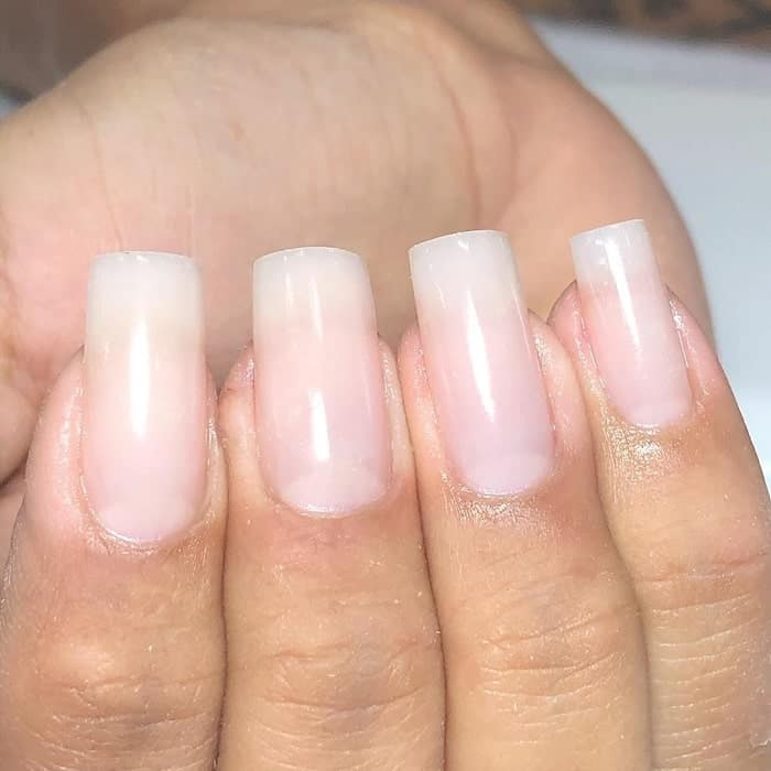 natural long square nails