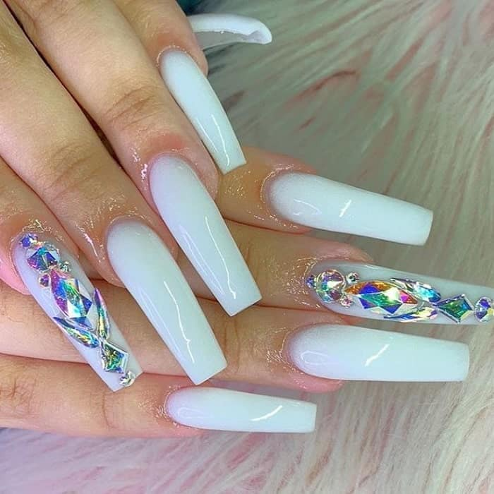 long white square nails