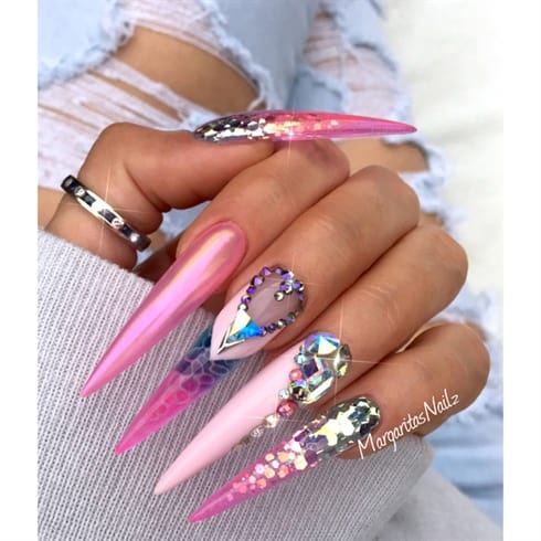 Gorgeous pinkish stiletto nail design