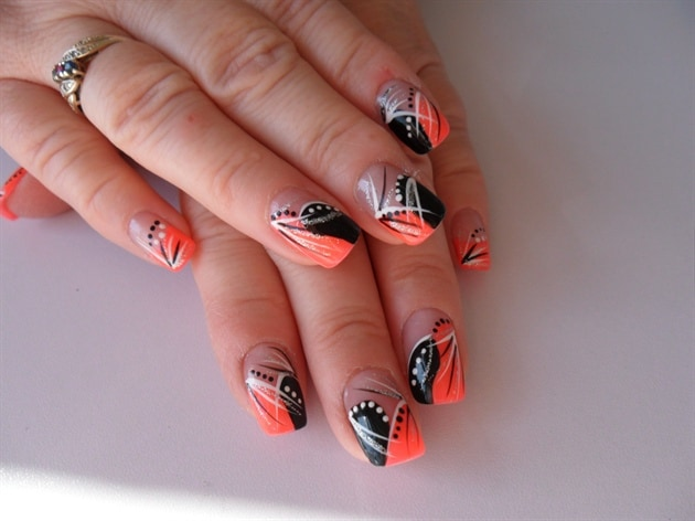 peach and black abstract nail art