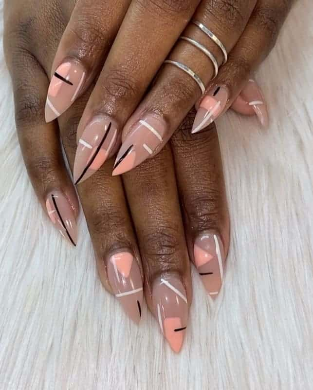 nude stiletto acrylic nails