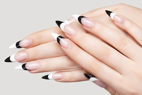 Black Tip Stiletto Nail