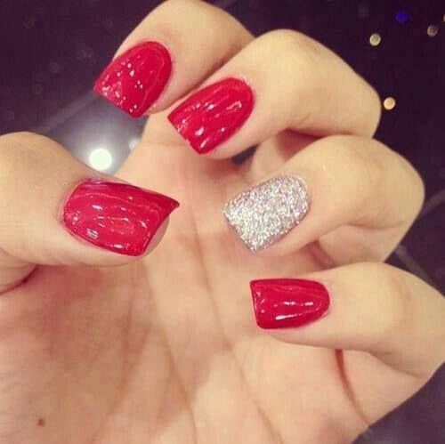 Red Accent Nail designs
