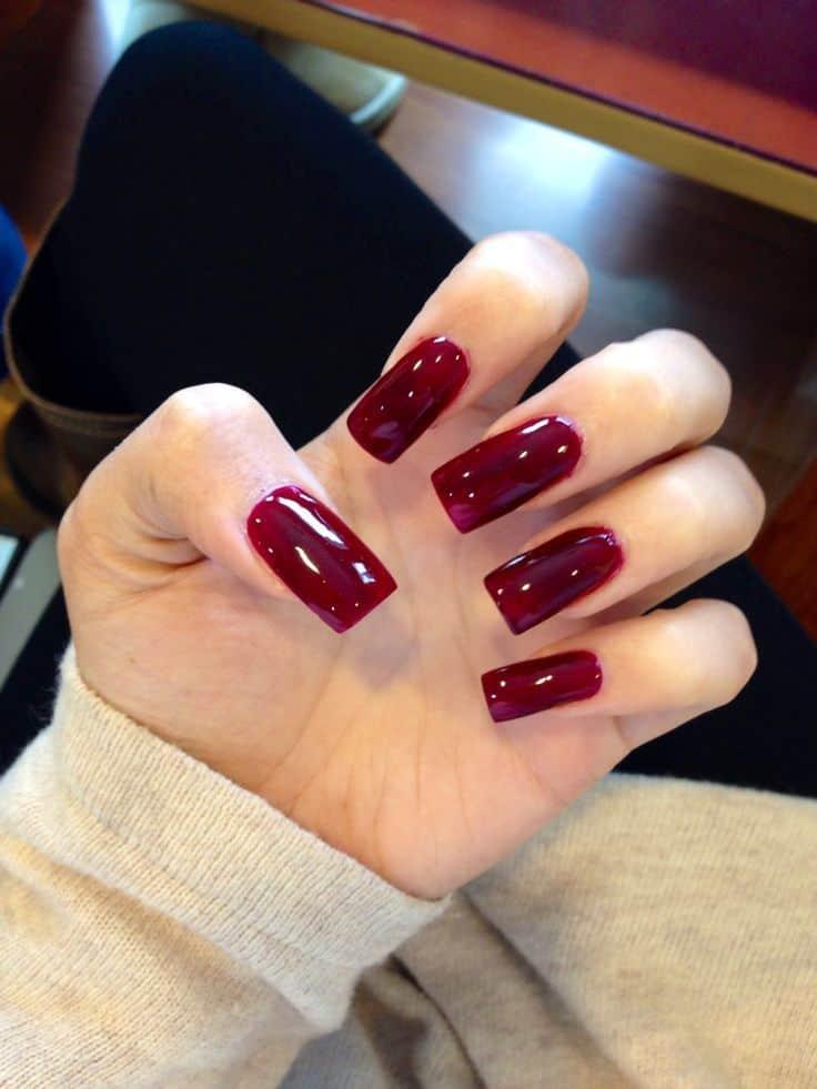 Maroon Acrylic Nail
