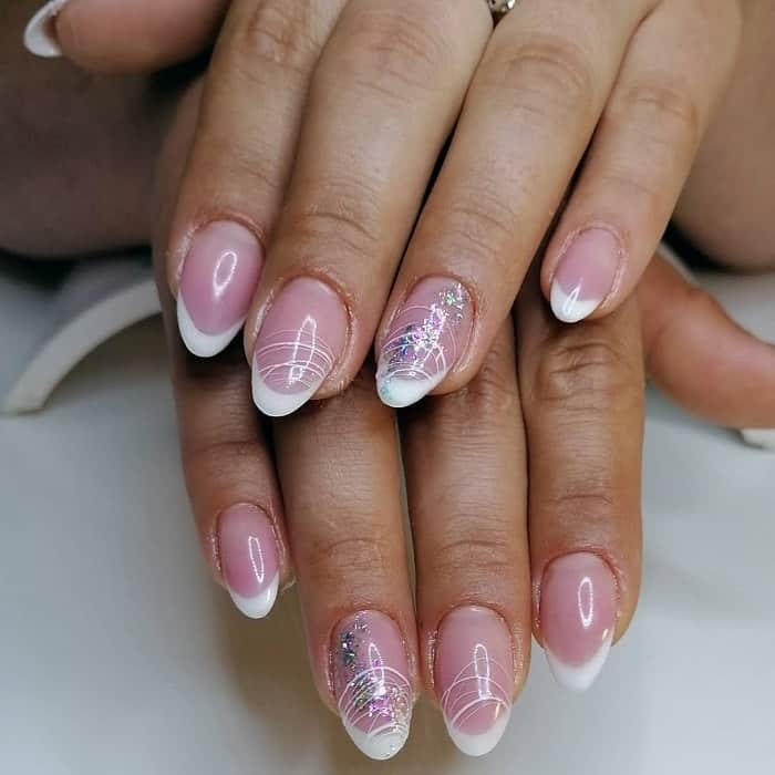 short almond acrylic nails with french tip