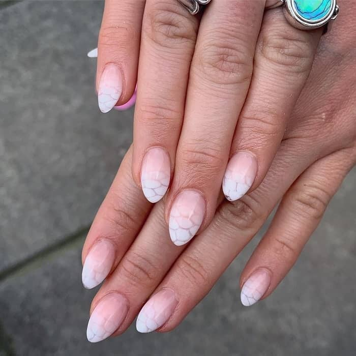 short acrylic almond ombre nails