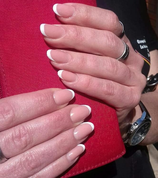 Short Oval Shaped French Nails