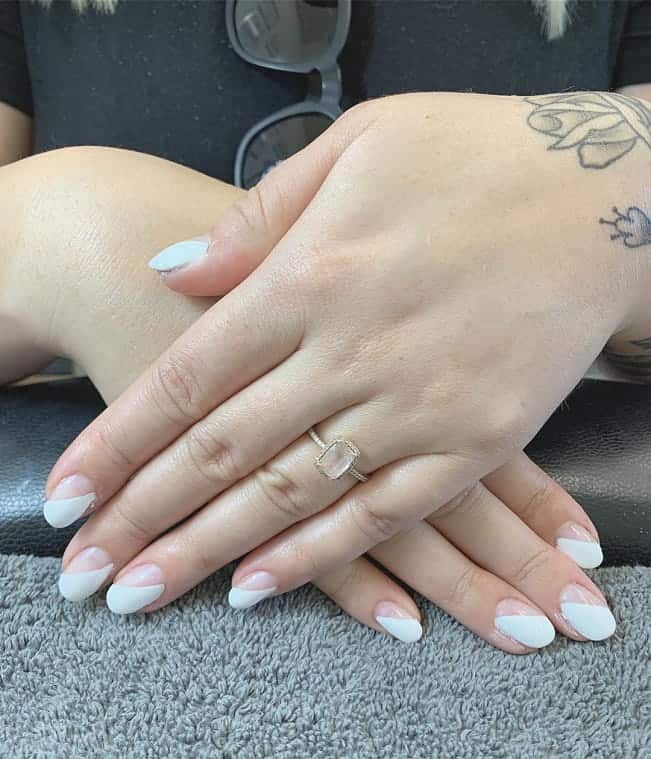 Short White Oval Nails