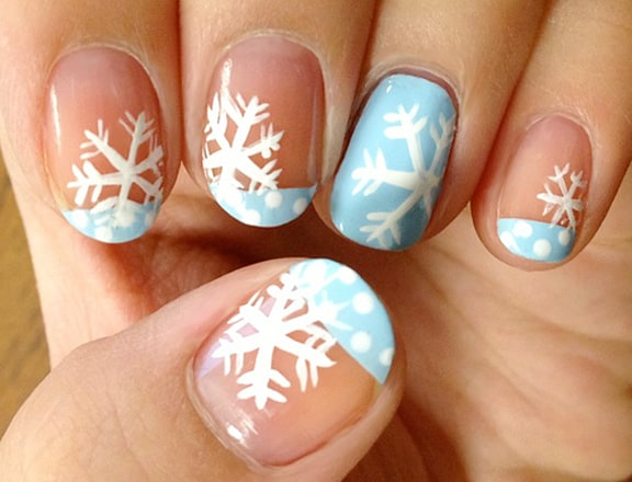 Snowflake nail designs 25 ideas to celebrate winter prinsesfo Image collections