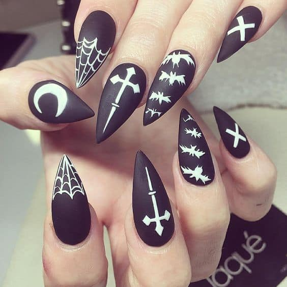 Cross on Matte Stiletto Nails