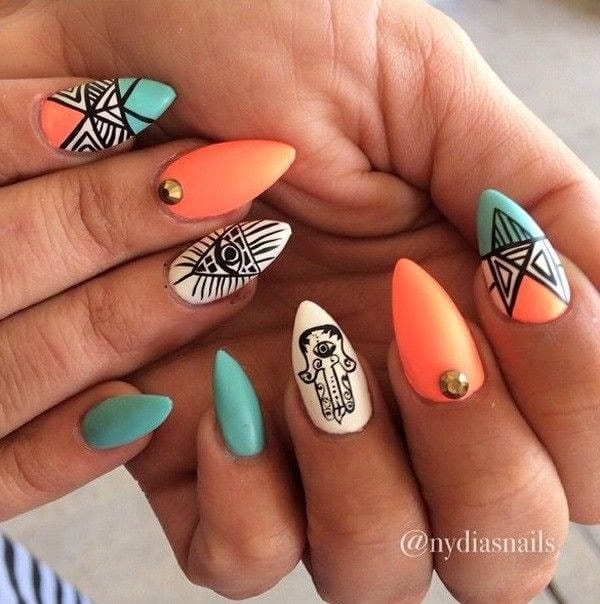 Aztec Art on Matte Stiletto nails