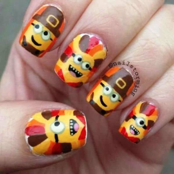 Thanksgiving Minions nail Art