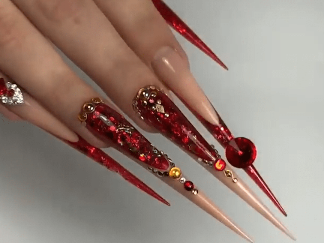 Gorgeous Red color stiletto nail design