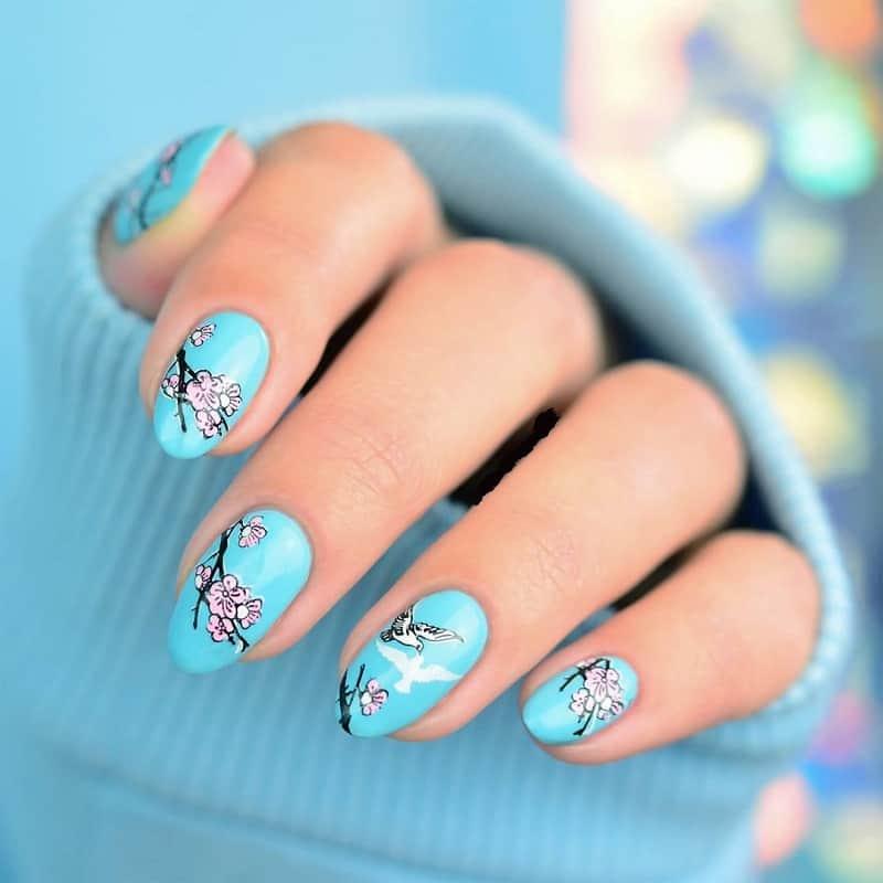 cherry blossom blue nail art