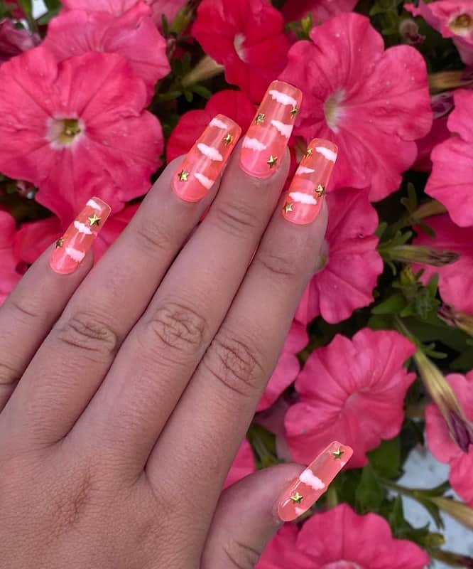 clear nails with stars